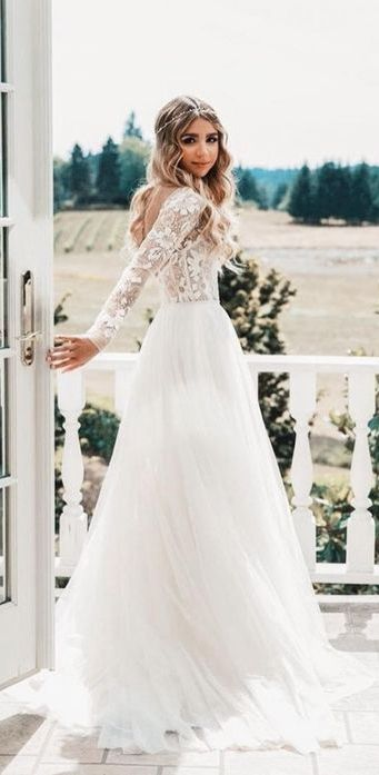See through lace and tulle wedding dresses with sleeves. #weddingdresses #weddin... 11