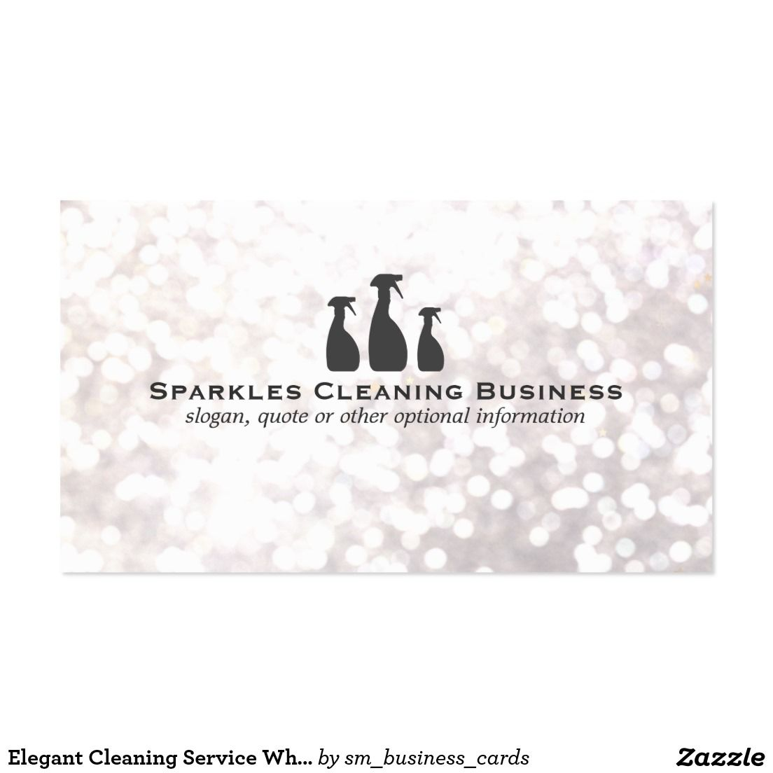 Elegant Cleaning Service / House Keeping White Bokeh Business Card ...