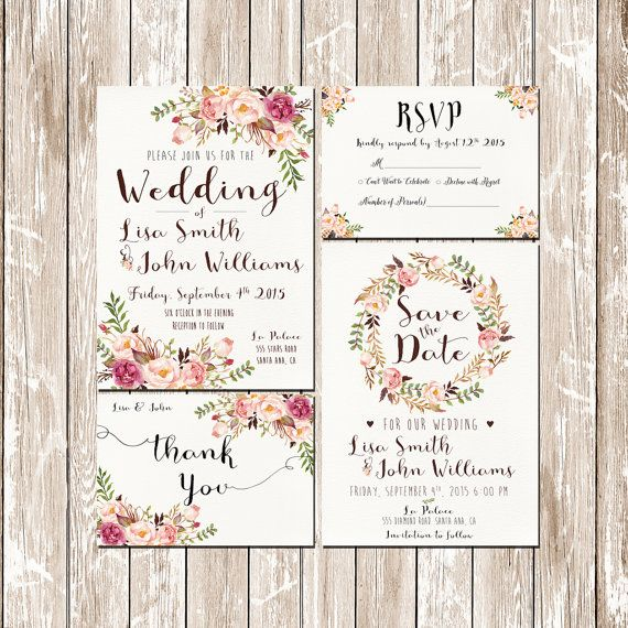 invitation kit wedding invitation pink floral rustic watercolor set