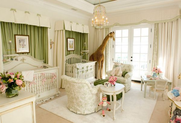 High End Nursery Furniture. Luxurious Pink And White Nursery .