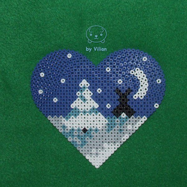 Heart-shaped winter view Hama bead ornament by VilDeviant on DeviantArt