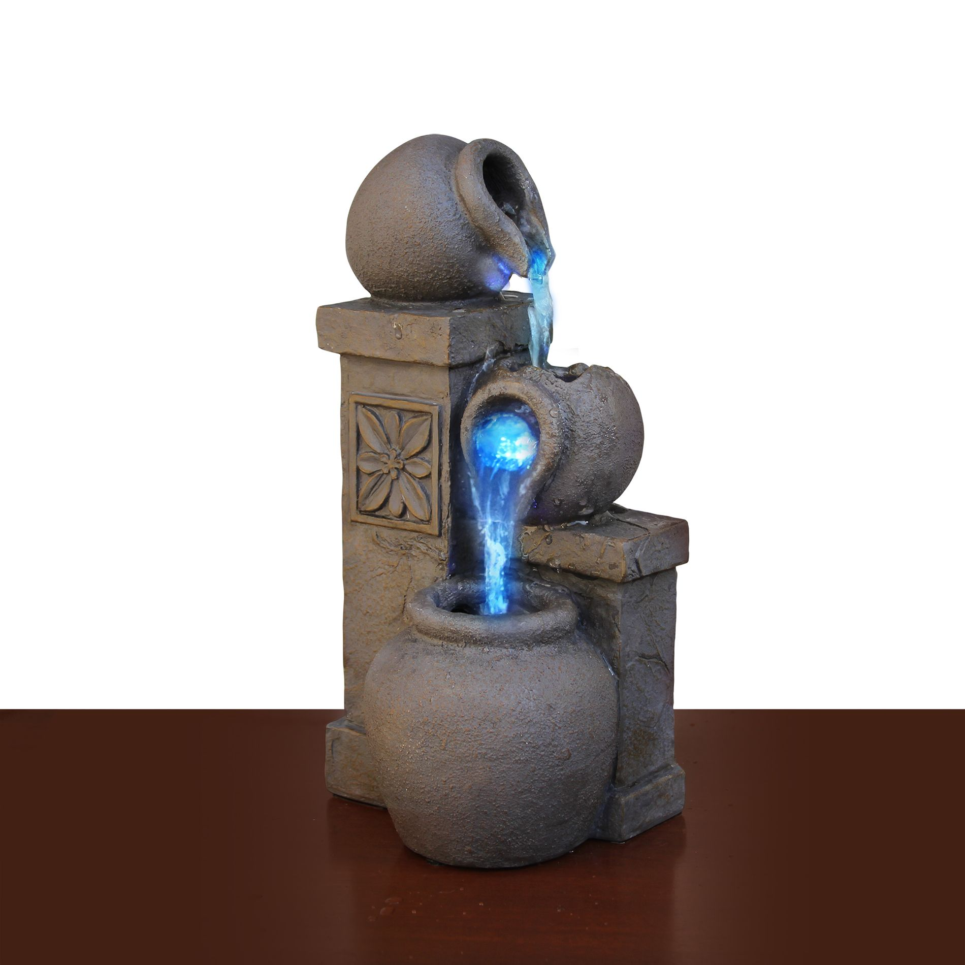 Led-Fountain-Rustic-Vase-Color-Changing-Tabletop-Waterfall-Water ...