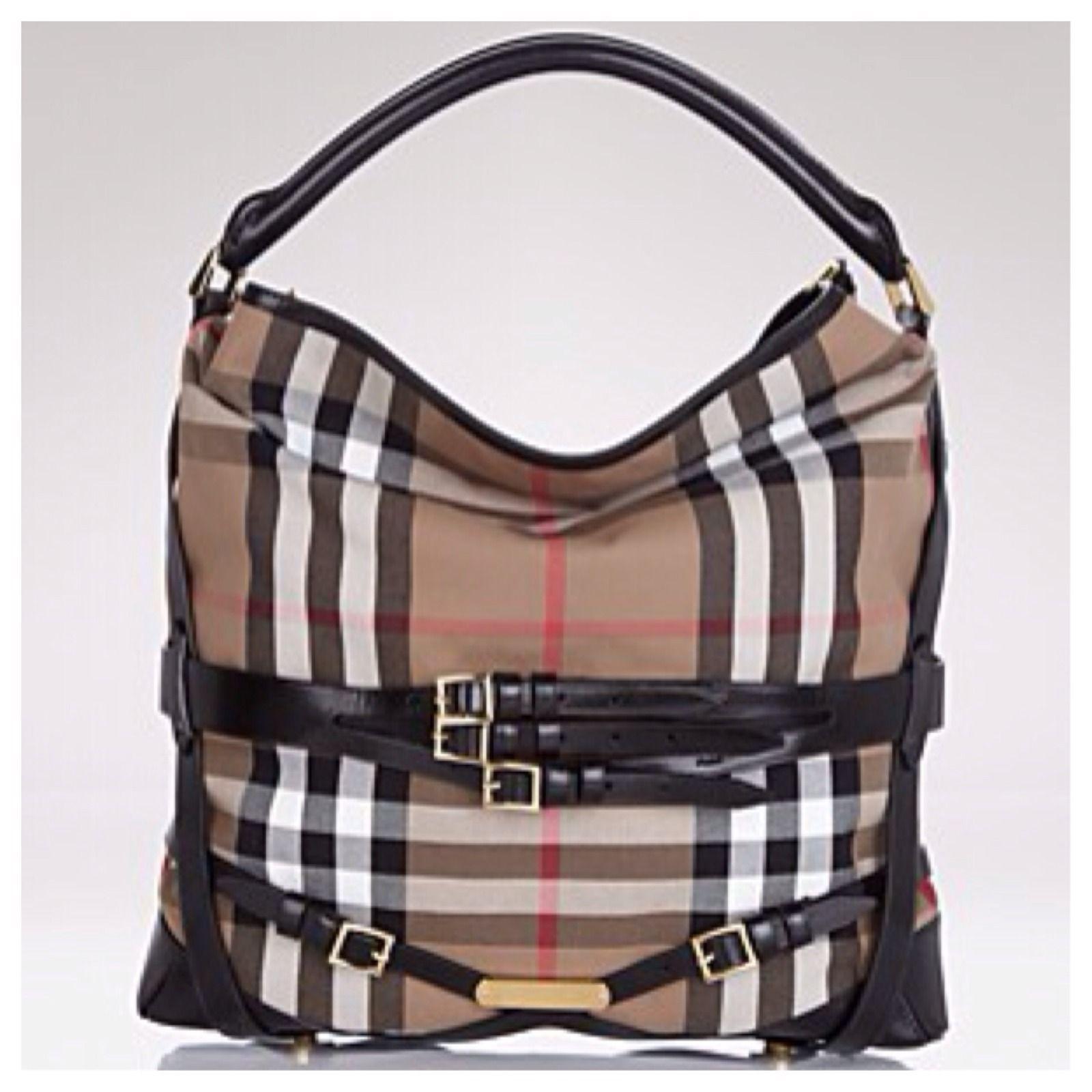 3cedfda46b50 Auth Burberry Bridle House Check Medium Gosford Hobo Bag Black ...