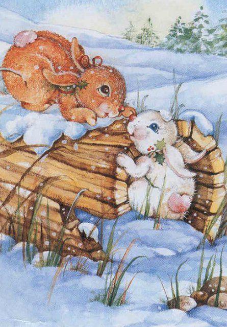 Новогодние картинки девочка зимой держат зайцы в лесу