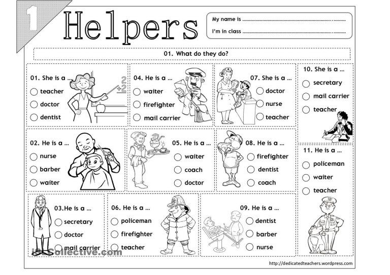 15 best images of free printable worksheets community helpers for ...