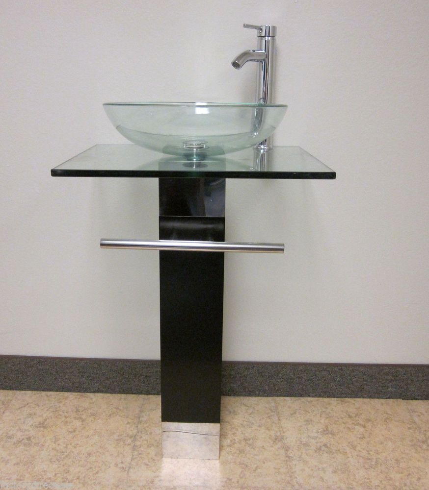 Attractive Bathroom Vanity Pedestal With Glass Bowl Vessel Sink Combo Chrome Faucet