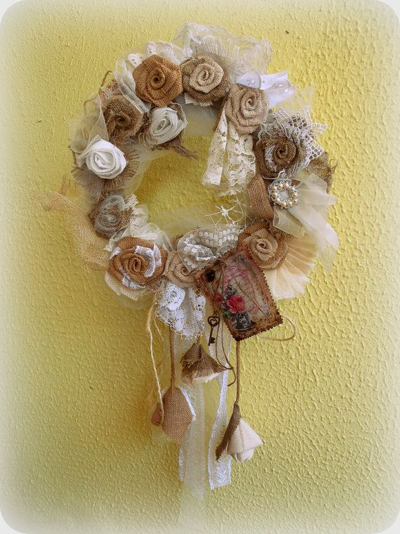 Turqoise Brown Shabby Chic Wreath Country House wreath