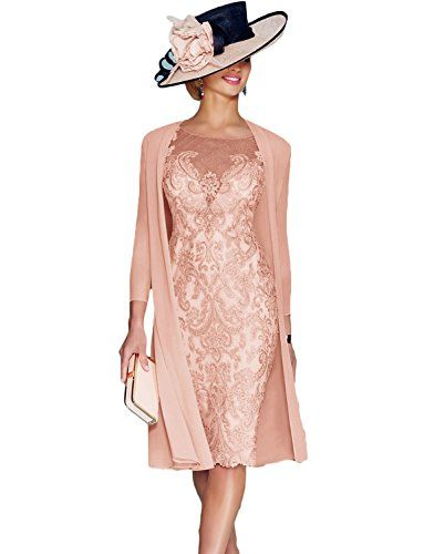 Newdeve Dusty Rose Lace 3 4 Sleeve Knee Length Formal Bri Bride Clothes Tea Length Dresses Mother Of Groom Dresses