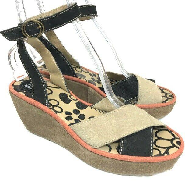 867f194fe475d Fly London Womens Platform Sandals Black Beige Size 41 10 10.5 Suede Ankle  Strap #FLYLondon #PlatformWedges