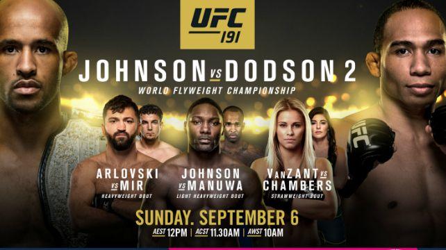 Watch Ufc 191 Johnson Vs Dodson 2 9 5 2015 Full Show Ufc Live Tv Full Show