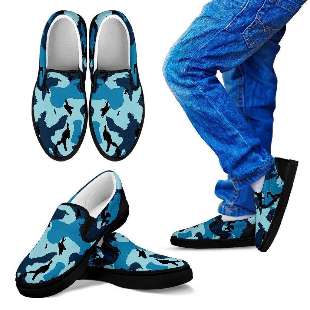 Kid's Blue Camo Slip-on