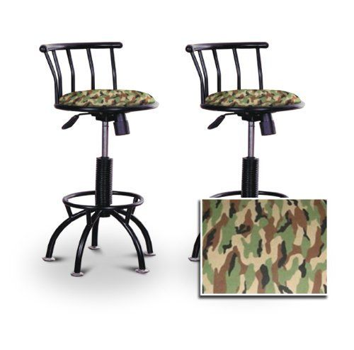 """2 24""""-29"""" Camouflage Seat Black Adjustable Specialty / Custom Barstools Set by The Furniture Cove. $229.88. Back Rest and Foot Rest. Black Metal Finish. Swivel Seat. fuzzy flannel-like camouflage Fabric Print Seat. 24"""" to 29"""" Adjustable Seat Height. These have a fitting appearance for a wide variety of places. They look and feel great, feature a camouflage fabric seat, and are impressively versatile. The frame is made of metal making it a strong, heavy duty stool. The cushion is..."""