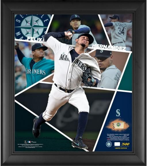 Felix Hernandez Seattle Mariners 15 X 17 Impact Player Collage With A Piece Of Game Used Baseball Limited Edition Of 500