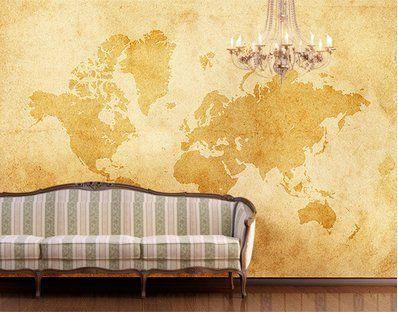 Fototapete weltkarte retro  Fototapete Tapete Weltkarte Antik Erde - VINTAGE WORLDMAP ...