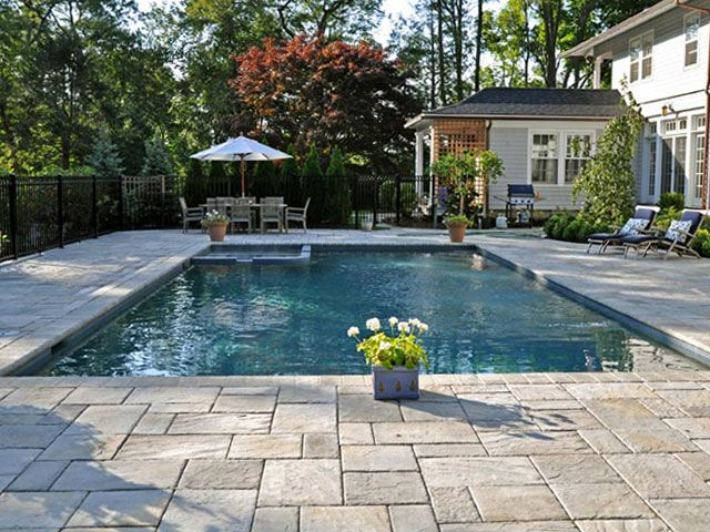 Love The Paver Decking Pool Patio Landscape Pinterest Pool Pavers Rectangular Pool