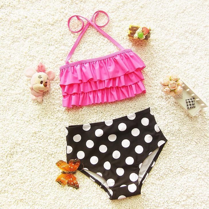 Polka Dot Girls Swimwears Two Pieces Toddler Bathing Suits Baby ...