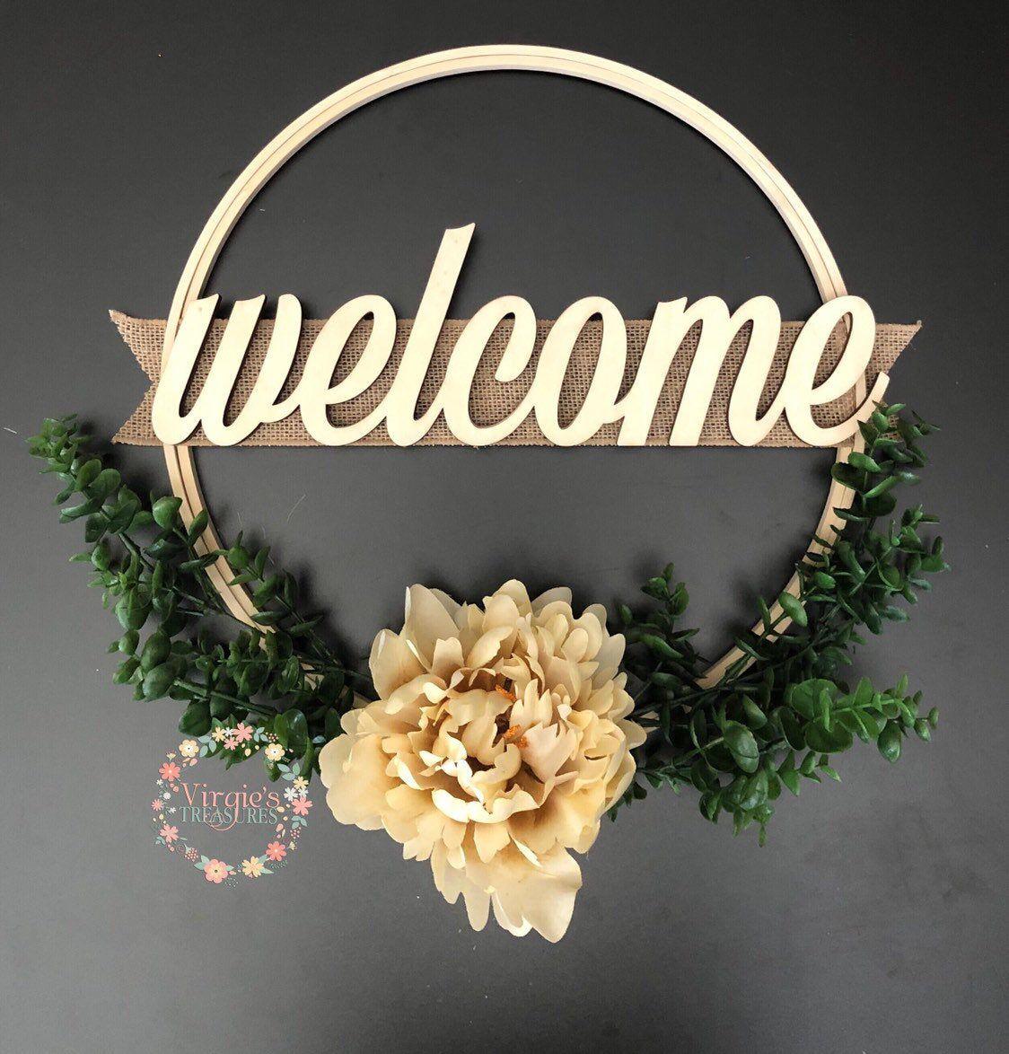 Photo of Embroidery Hoop Wreath, Boxwood & Peony Hoop Wreath, Wall Gallery Wreath, Welcome Wreath, Fall Wreath, Motorhome Wreath, Kitchen Wreath