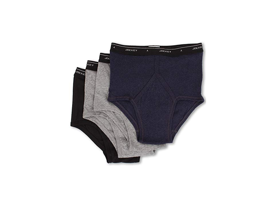 32b8d88358f Jockey Cotton Full-Rise Brief 4-Pack (Cinder Heather True Denim Heather