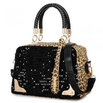 Metallic Leopard Print Sequins Black Tote Bag Handbag [grxjy520384]