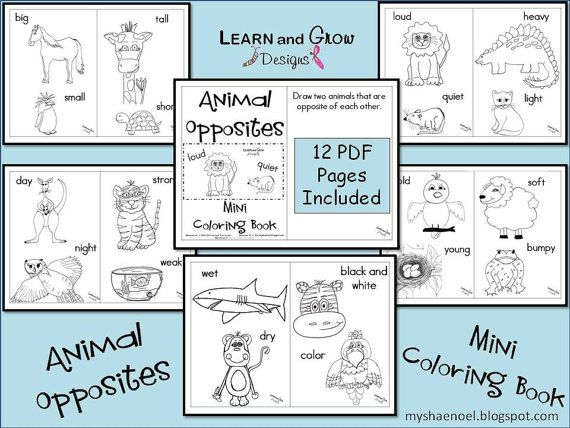 Animal Opposites Printable Coloring Book | Learning, Classroom ...