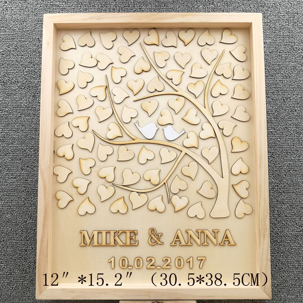personalized wedding guest book custom drop box with 60 wood hearts