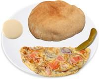 Wholewheat Pitta with vegetable omelette