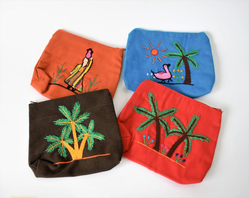Christmas gift Ethnic embroidered purse palm tree Eco friendly bag Cotton pouch Minimal wallet Egyptian Zip Mother gift Boho chic