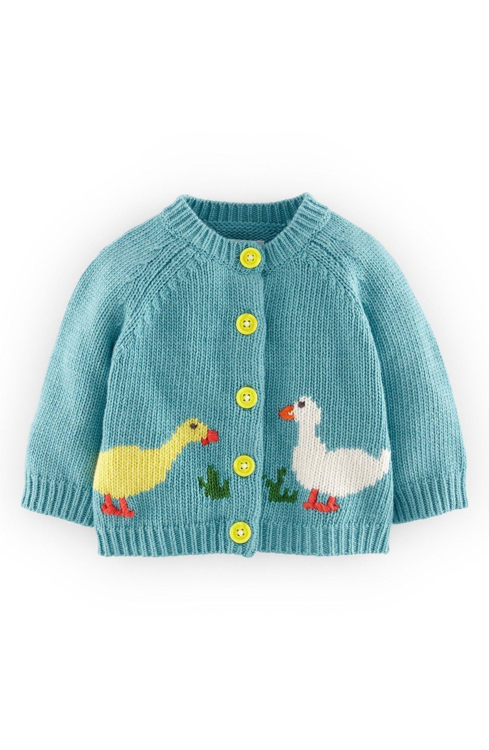 Main Image - Mini Boden \'My Favourite\' Intarsia Knit Cardigan (Baby ...