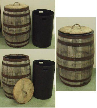 Amazon.com: Jack Daniels Whiskey Barrel Trash Can W/Lid Liner: Home U0026  Kitchen Super Neat.