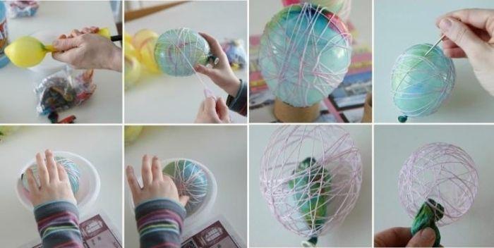 Bilder-Anleitung-Ostereier schmücken mit Garn und Luftballons