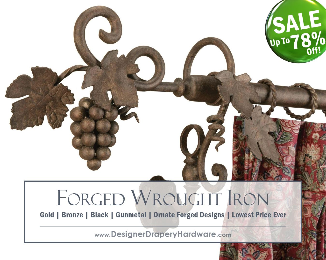 Ornate Hand Forged Wrought Iron Grape Leaf Design With