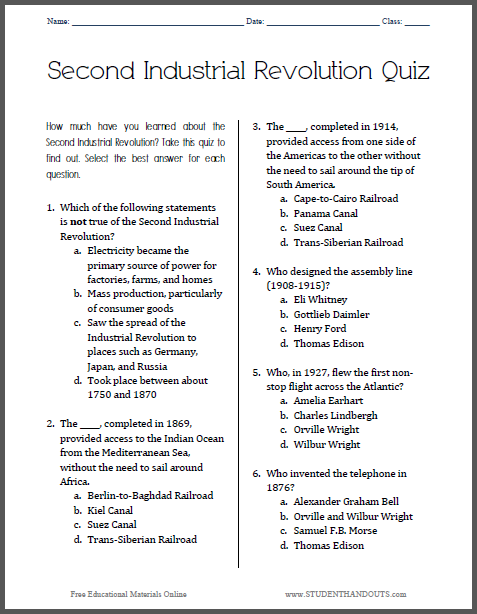 picture relating to Political Party Quiz for Students Printable named Minute Professional Revolution Printable Quiz College student