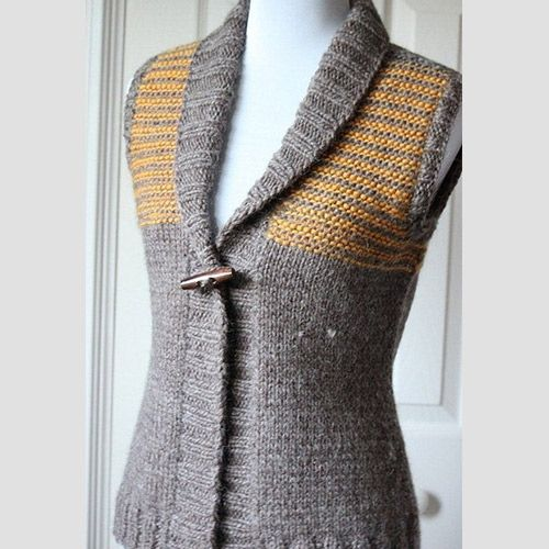 Knitting Pattern Vest Bulky Yarn : Bulky yarn vest with short row shaping, 3 needle bindoff ...