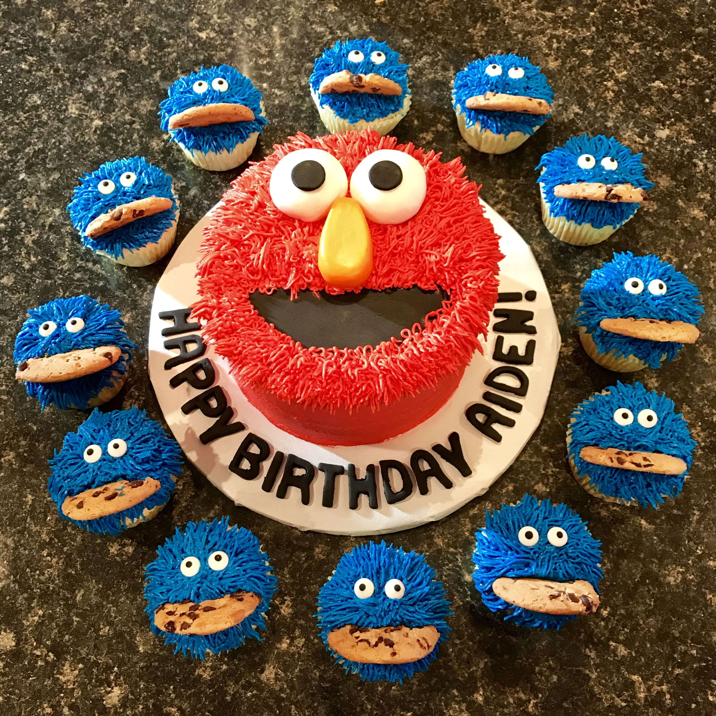 Elmo Smash cake and Cookie Monster Cupcakes for 1st birthday www
