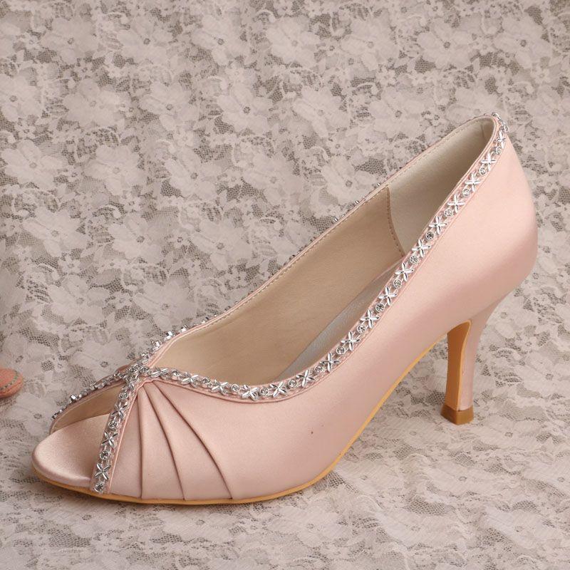 Wedopus MW627 High Heel Blush Pink Wedding Shoes Bridal Pump Open Toe  Autumn Shoes  Pump b6cd989e803c