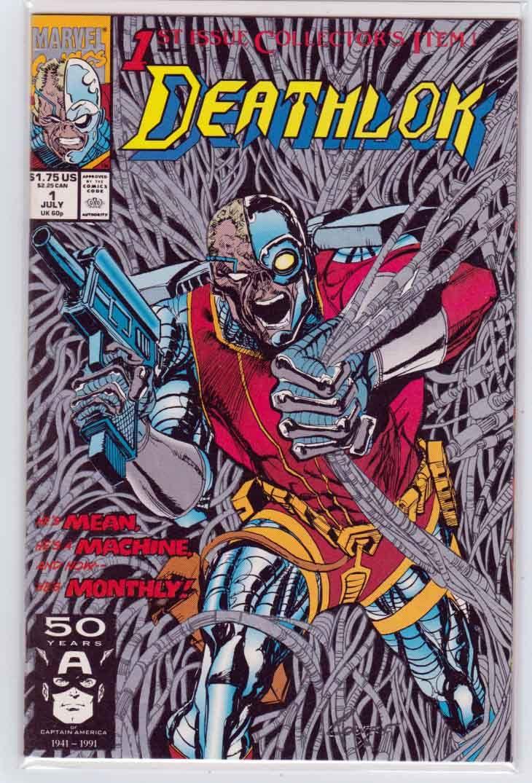 DEATHLOK #1~METALLIC SILVER INK COVER~DENYS COWAN COVER//ART~1991