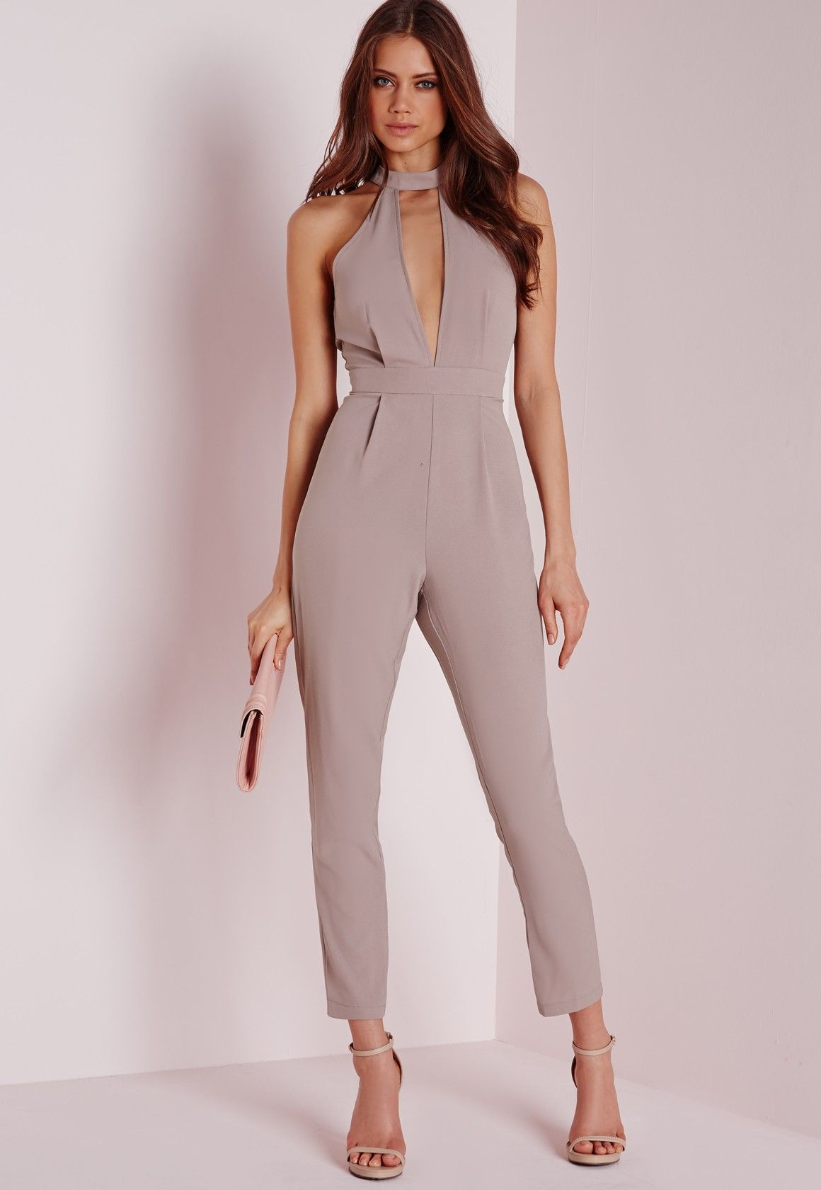 966237cc7d7b Missguided - Tall Exclusive Neck Detail Jumpsuit Taupe