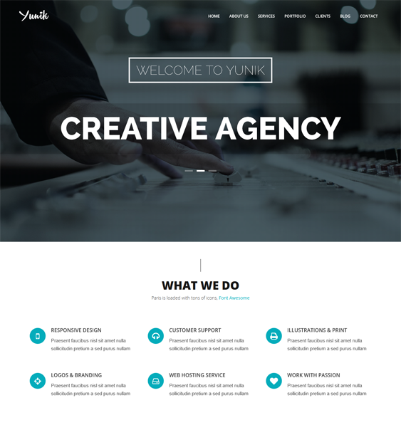 This one page Drupal theme offers a responsive layout, a clean