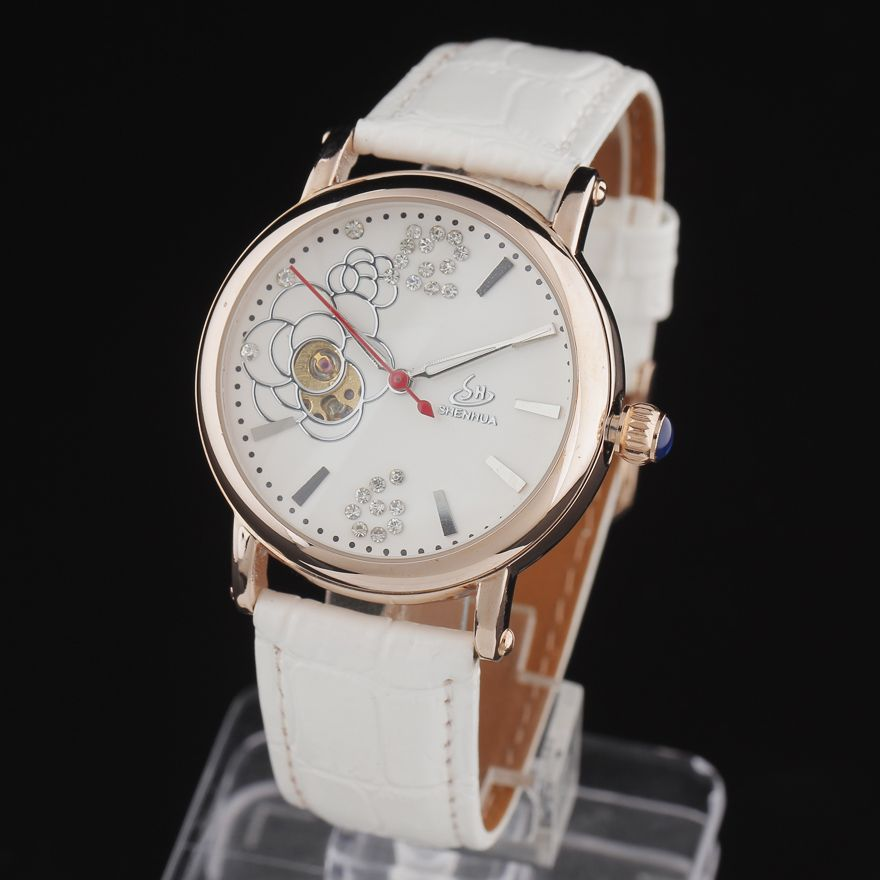 Ladies Leather Fashion Watch With Flower Face Armband- & Taschenuhren White