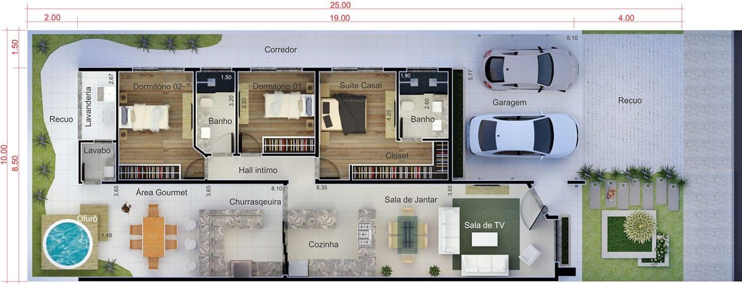 Planta de casa com rea de lazer planta para terreno for Casa moderna 8x20