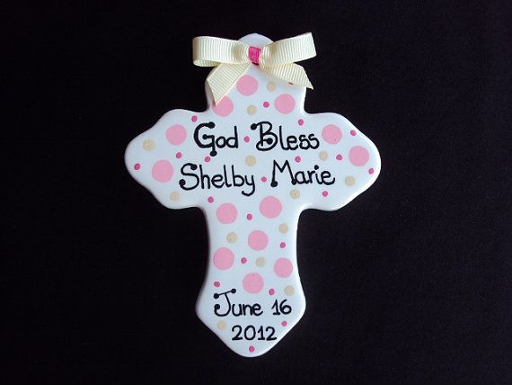 Personalized Hand Painted Ceramic CrossGreat for by LilBitofPaint, $14.00