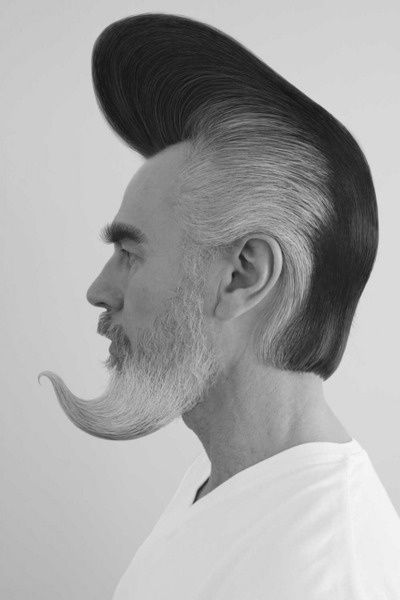 Unique And Artistic Hair Black White Mens Hairstyles Beard No Mustache Crazy Hair