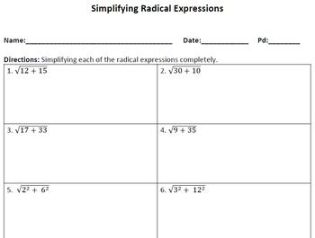 Simplifying Radical Expressions Worksheet With Images Radical