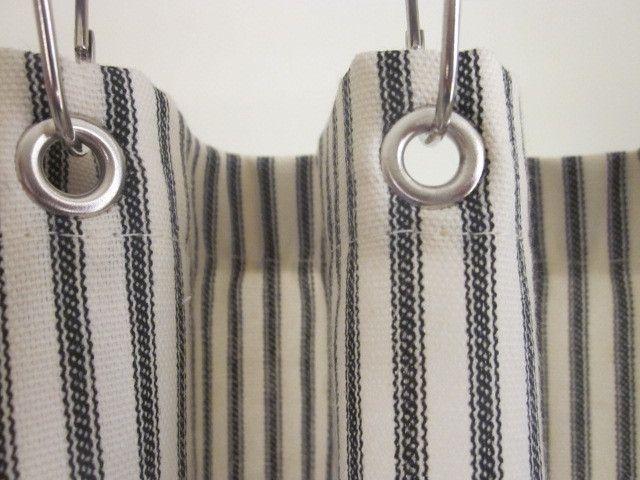 Ticking Stripe Shower Curtain Black Brown Grey Navy Red 72x72