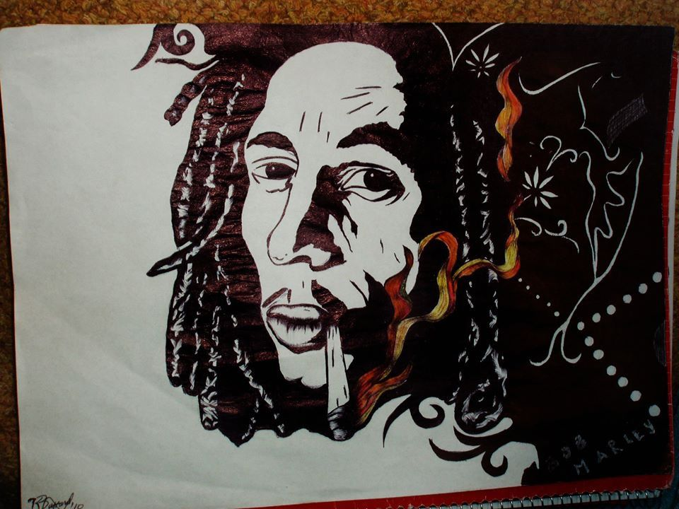 Bob Marley Portrait Drawing Art with Pen Black and White