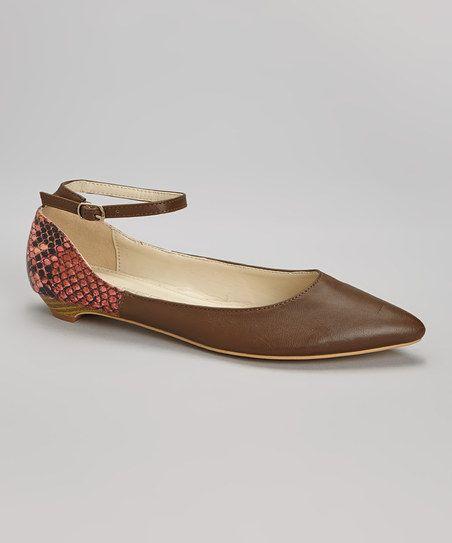 Mocha Hudson Ankle-Strap Flat