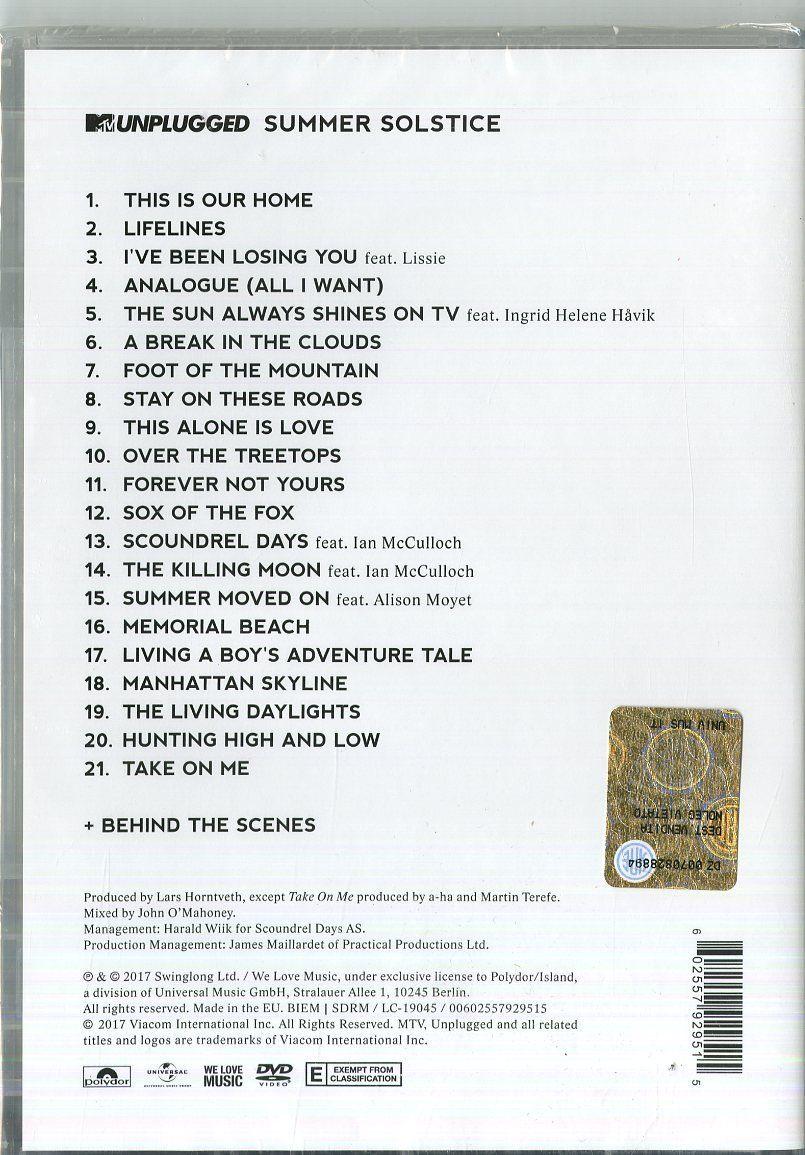 A Ha Mtv Unplugged Summer Solstice Reino Unido Dvd Unplugged