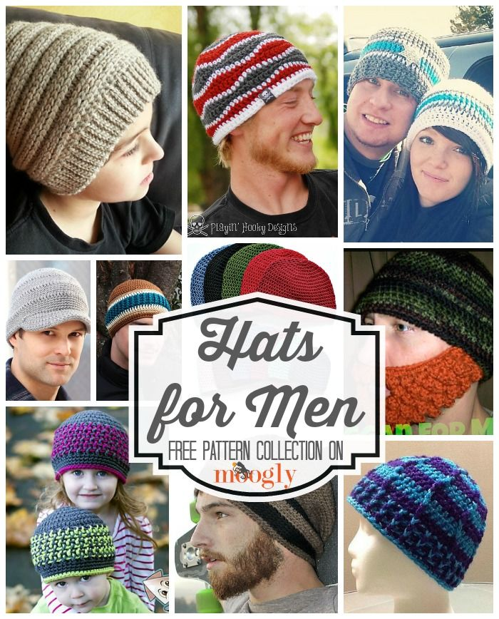 Beanies for the Big Boys: Free #Crochet Hats for Men! | Mütze, Hüte ...