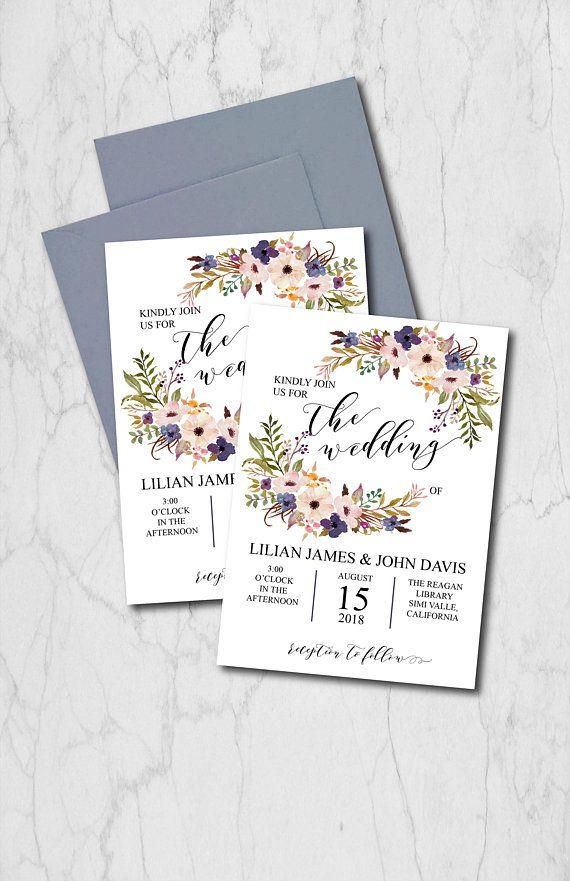 Blue Wedding Invitation Suite Template Blush Floral Wedding