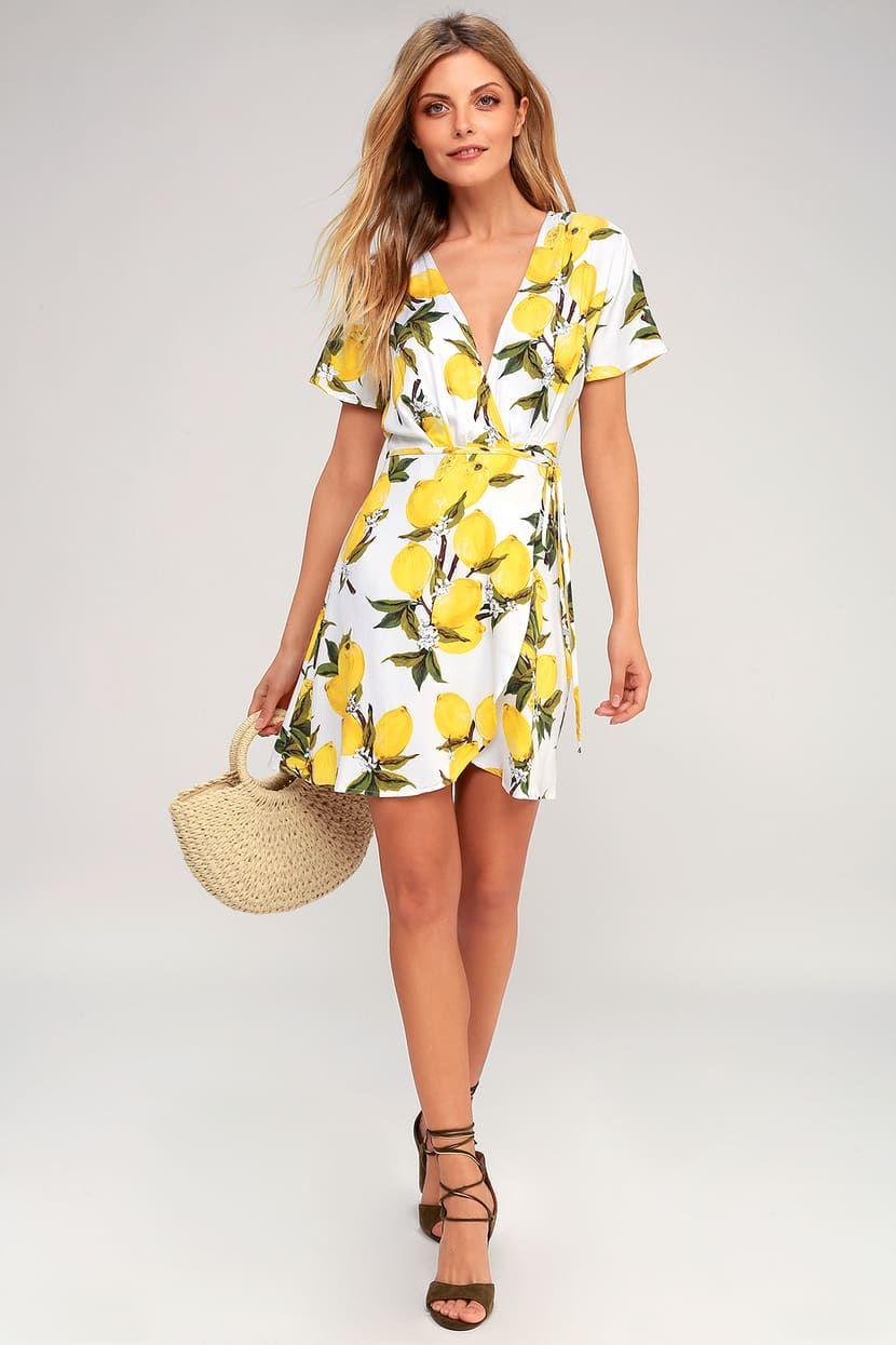 A La Tart White And Yellow Lemon Print Wrap Dress Wrap Dress Lemon Print Dress Printed Wrap Dresses [ 1245 x 830 Pixel ]